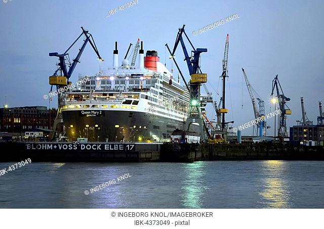 Queen Mary 2 in dry dock Elbe 17, harbor, Hamburg, Germany