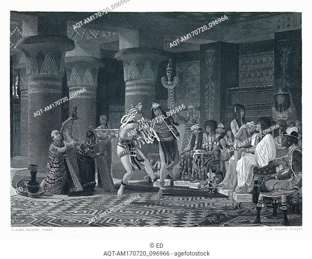 Drawings and Prints, Print, Pastime in Ancient Egypt, Artist, Publisher, After, Sir Lawrence Alma-Tadema, Charles William Sharpe, Gebbie and Barrie