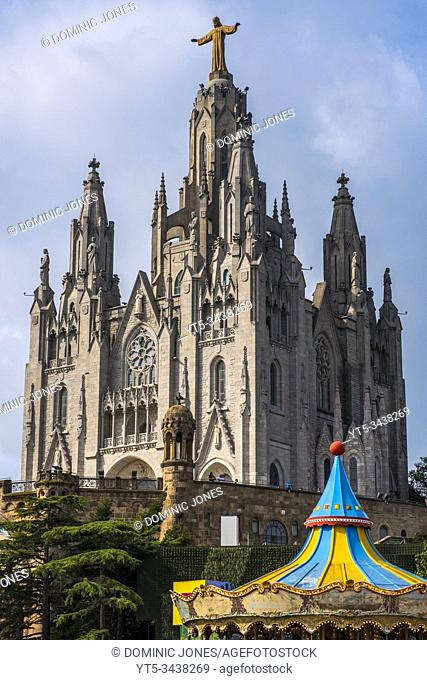 The Temple of the Sacred Heart of Jesus at Tibidabo, Barcelona, Catalonia, Spain, Europe