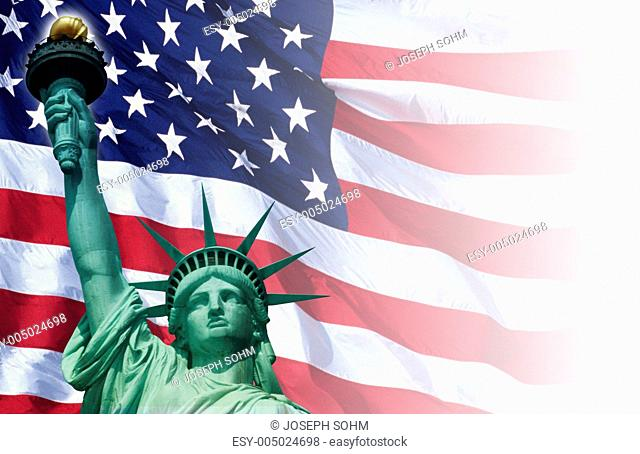 Digital composite: American flag and the Statue of Liberty