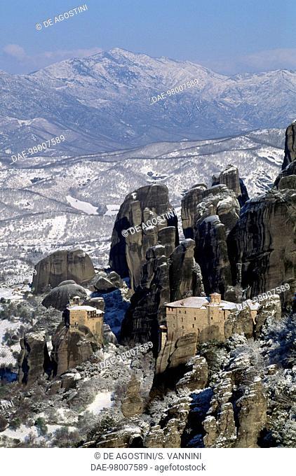 St Nicholas (Agios Nikolaos) monastery and Roussanou monastery, Meteora (UNESCO World Heritage List, 1988), Trikala, Thessaly