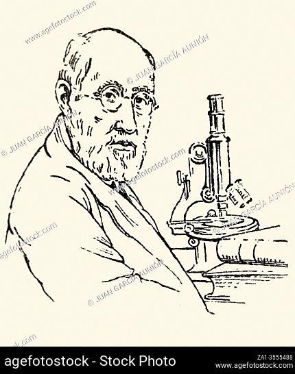 Santiago Ramon y Cajal Portrait. Spanish neuroscientist, pathologist, and histologist. Draw at Enciclopedia Autodidactica Dalmau, 1954