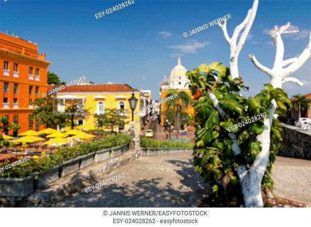 Background blur of the beautiful walled city of Cartagena de Indias, Colombia