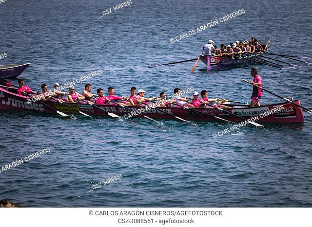 CASTRO URDIALES, SPAIN - JULY 15, 2018: Competition of boats, regata of trainera, San Juan Sumelec boat in action in the VI Bandera CaixaBank competition