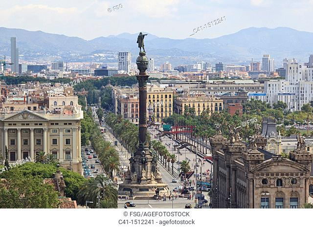 Columbus statue and Barcelona overview, Spain