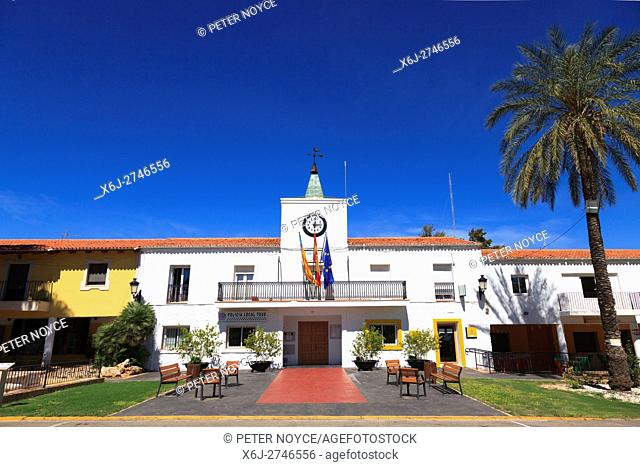 The classic spanish Policia Local Station in the created village of Tous in Valencia Community Spain