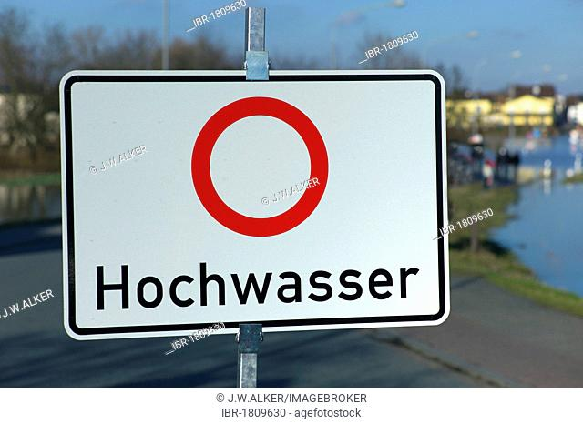 Sign with lettering Hochwasser, German for Caution! Flood, road closure, Hesse, Germany, Europe
