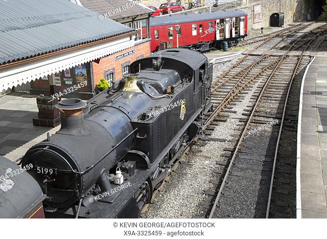 Steam Train at Heritage Railway; Llangollen Station; Wales; UK
