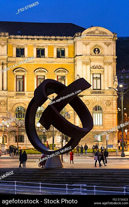 Variante Ovoide sculpture, the work of the Basque sculptor Jorge Oteiza in the Bilbao City Council. City of Bilbao, province of Bizkaia in the Basque Country