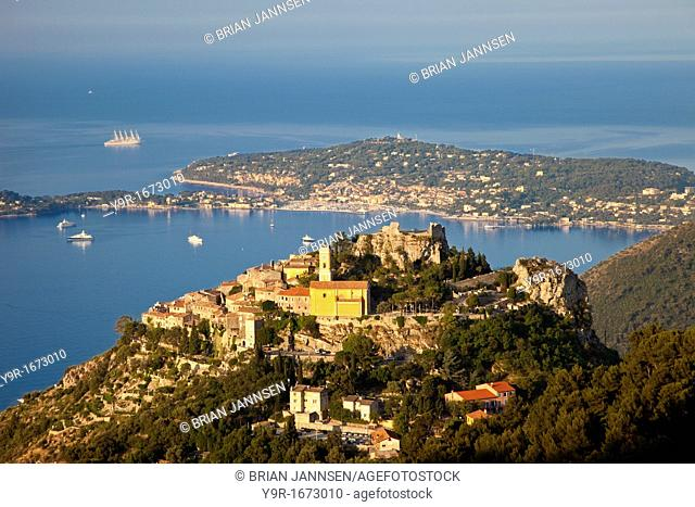 Early morning over Medieval town of Eze with St  Jean-Cap Ferrat beyond, Provence France