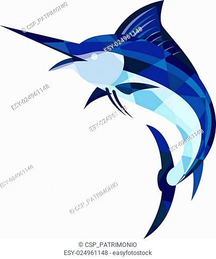 Blue Marlin Fish Jumping Low Polygon