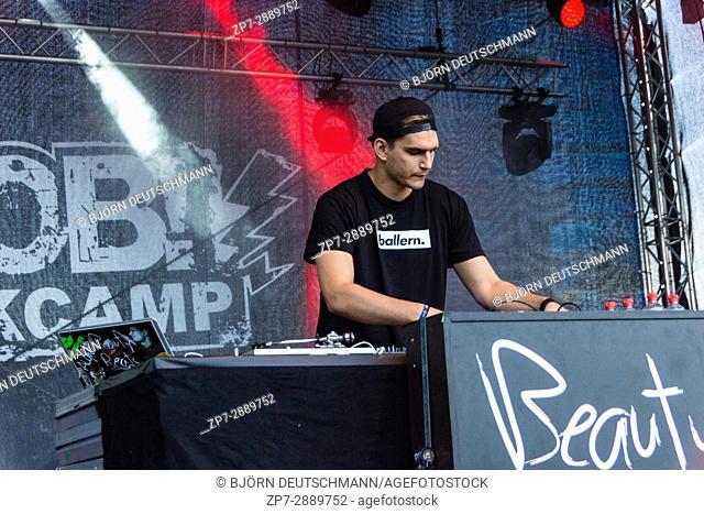 KIEL, GERMANY - June 17 2017: DJ Beauty and the Beats on the Radio BOB! Camp during the Kieler Woche 2017