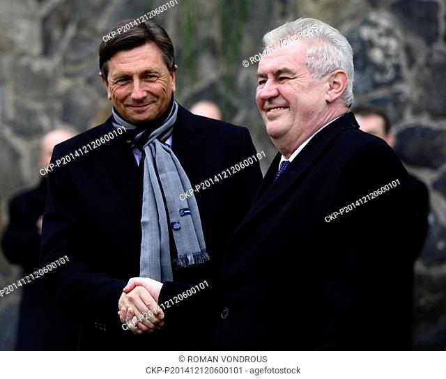 Slovenian President Borut Pahor (left) shake hands with his Czech counterpart Milos Zeman after Zeman received offshoot of the oldest vine in the world from...