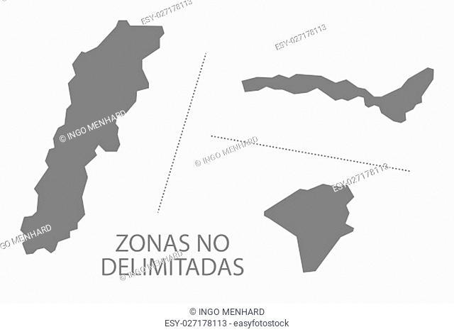 Zonas no delimitadas Ecuador Map grey