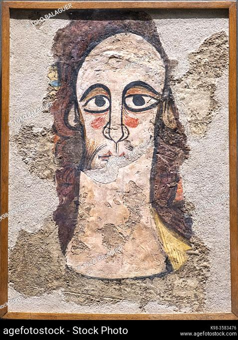 Ruesta pantocrator, mural paintings of Ruesta, 12th century, fresco torn and transferred to canvas, come from the church of San juan bautista in Ruesta