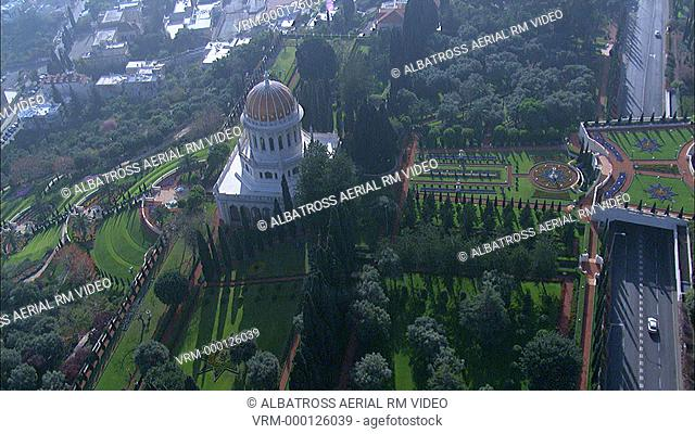 Footage of the Bahai gardens and Temple on the slopes of mount Carmel. Formal gardens