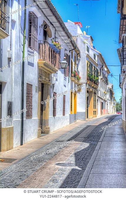 HDR of Houses and ancient narrow street in Córdoba, Andalusia, Spain, Europe