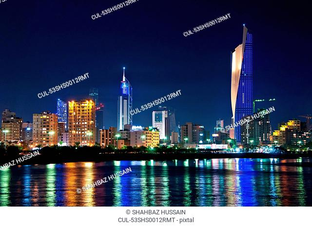Kuwait City skyline reflected in water