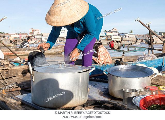 Breakfast at Cai Rang floating markets on Mekong River, South west Vietnam, Asia