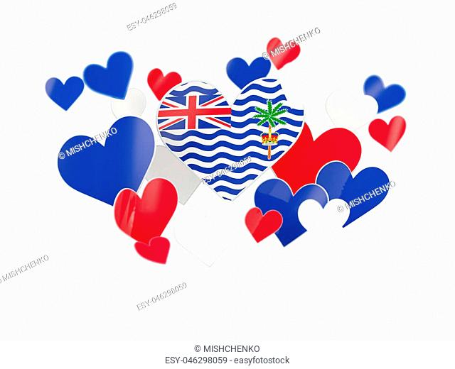 Flag of british indian ocean territory, heart shaped stickers on white. 3D illustration