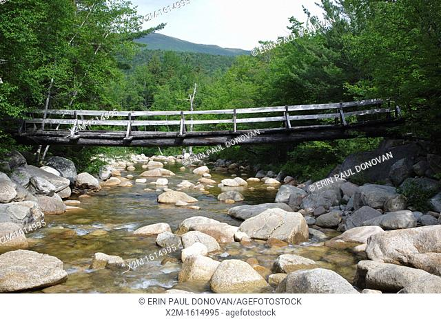 Pemigewasset Wilderness - Footbridge, which crosses the East Branch of the Pemigewasset River along the Thoreau Falls Trail at North Fork Junction in Lincoln