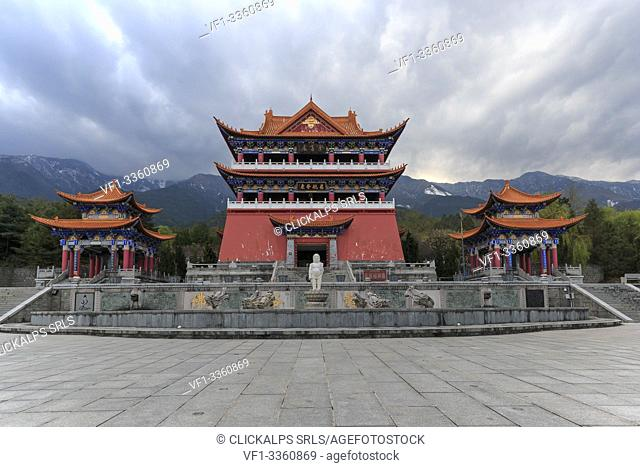 Main gate of Chongsheng temple (The Three Pagodas temple) in Dali, Yunnan - China