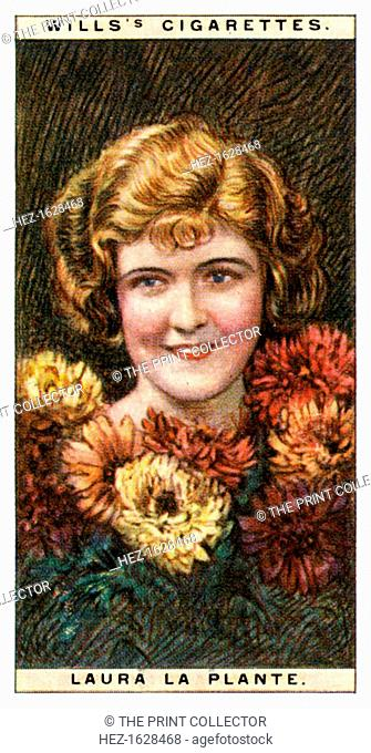 Laura la Plante (1904-1996), American actress, 1928. Number 12 (of 25) in the second set of WD & HO Wills' Cigarette Cards entitled Cinema Stars (1928)