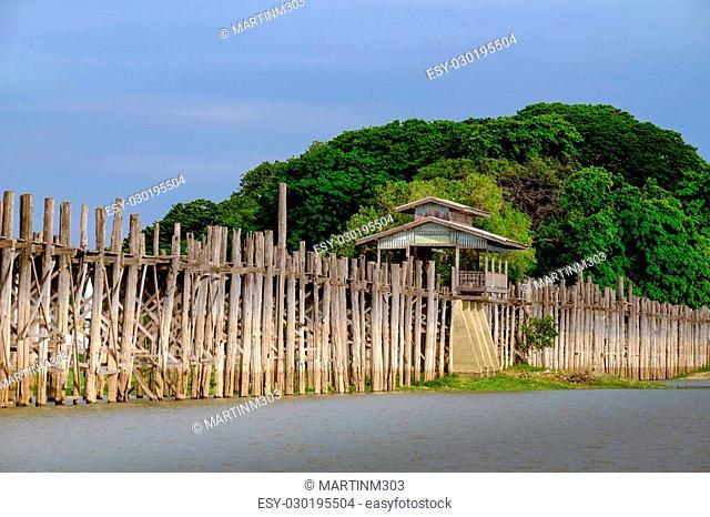 Landscape view of wooden Ubein bridge in Amarapura, Mandalay, Myanmar