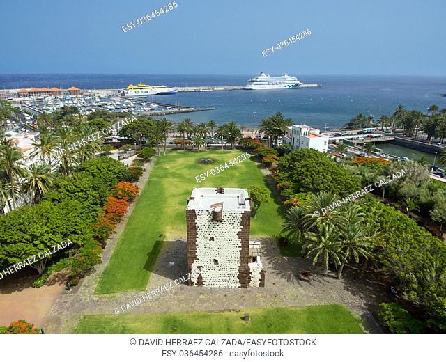 Aerial view of San Sebastian de la Gomera cityscape and harbor in La Gomera, Canary island, Spain