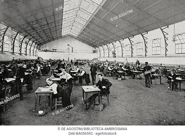 The history test in the military school stables, candidates for the admission contest to the Military Academy of Saint-Cyr, France