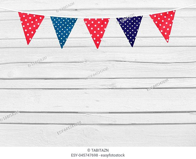 Birthday, baby shower mockup scene. Party flags decoration. Wooden background. Empty space for your text, top view