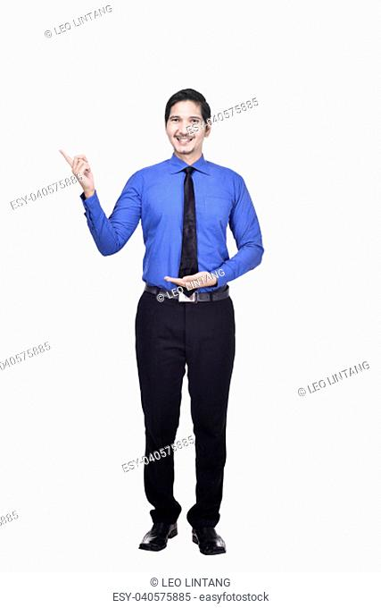 Image of asian businessman standing with pointing something isolated over white background