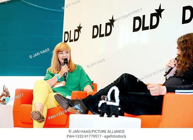 BAYREUTH/GERMANY - JUNE 21: Gabi Czöppan (Focus Magazine, l.) talks with artist Jonathan Meese (not in the picture) on the stage during the DLD Campus event at...
