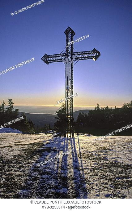 Metal cross with stylized figure of Jesus Christ. Mont-Mégantic National park, Québec, Canada