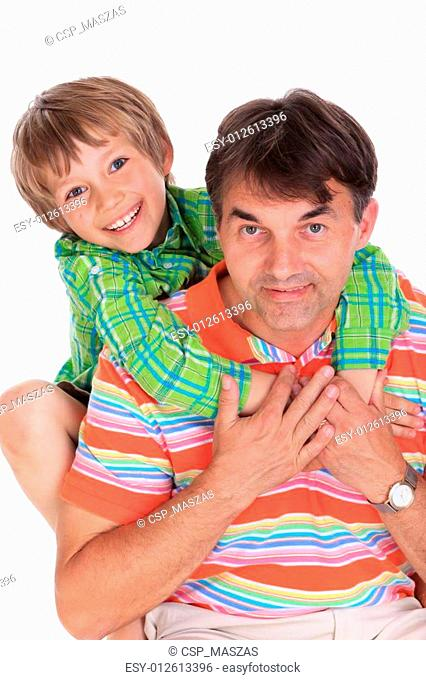 Happy boy with father