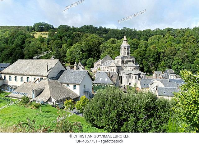 Notre Dame Basilica, built between 1146 and 1178, typical Romanesque church of the Auvergne region, Puy de Dome, Auvergne, France