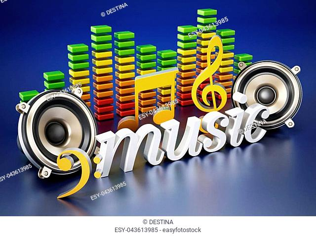 Music text, speakers, music notes and equalizer. 3D illustration