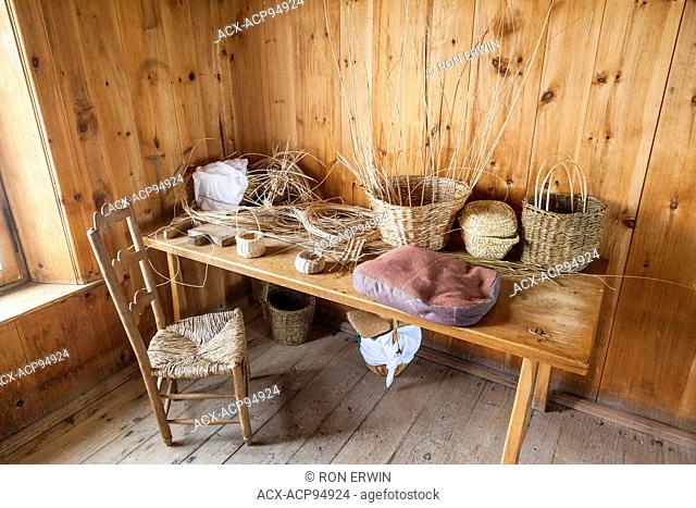 Basket making at the Fortress of Louisbourg National Historic Site of Canada in Nova Scotia
