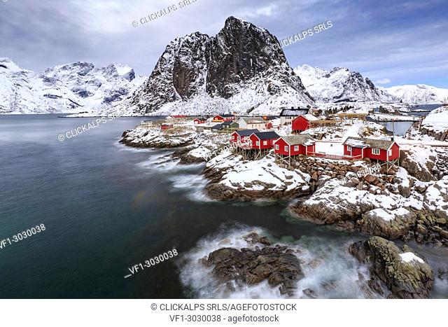 The small fishing village of Hamnoy in winter, Moskenes, Nordland county, lofoten islands, norway, europe