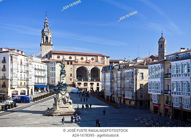Virgen Blanca Square, Vitoria, Basque Country, Spain