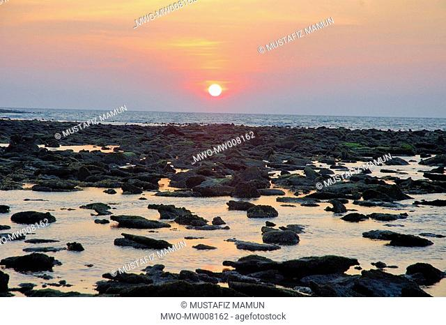 Sunset at Saint Martin's Island at Teknaf in Cox's Bazar It is the only coral island of Bangladesh and one of the famous tourist destinations of the country St...