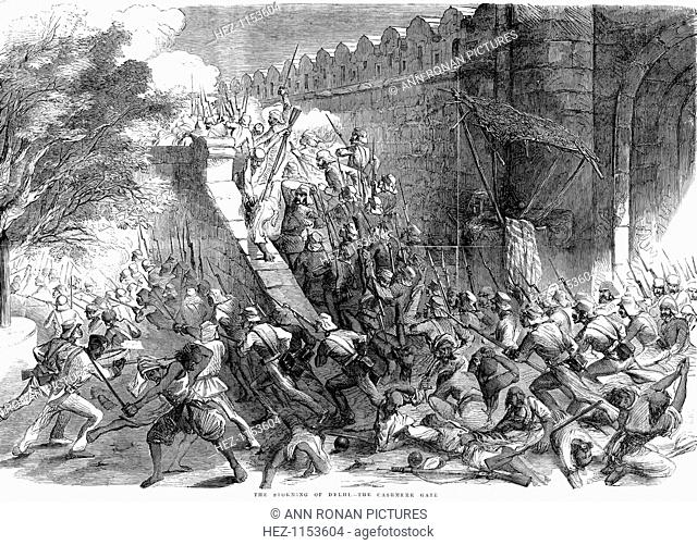 Siege of Delhi, Indian Mutiny, September 1857. Colonel Campbell's troops storming the Cashmere Gate after engineers had blown it up