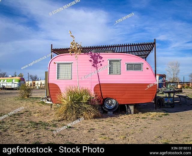 Colorful motor home that tourist can rent for lodging in Marfa, TX