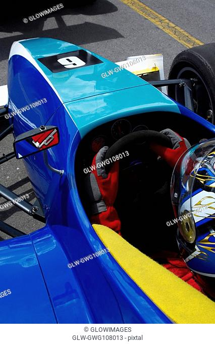 High angle view of a racecar driver in a racecar