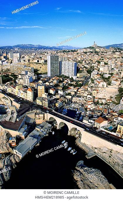 France, Bouches du Rhone, Marseille, Vallon des Auffes aerial view