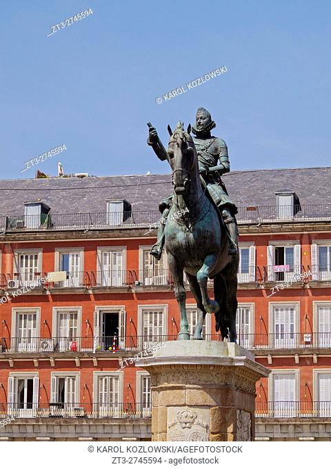 Spain, Madrid, View of the Philip III Monument on the Plaza Mayor