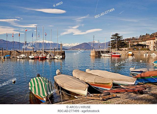 Old harbour, Lago Maggiore, Laveno-Mombello, Laveno, Lombardy, Province of Varese, Italy