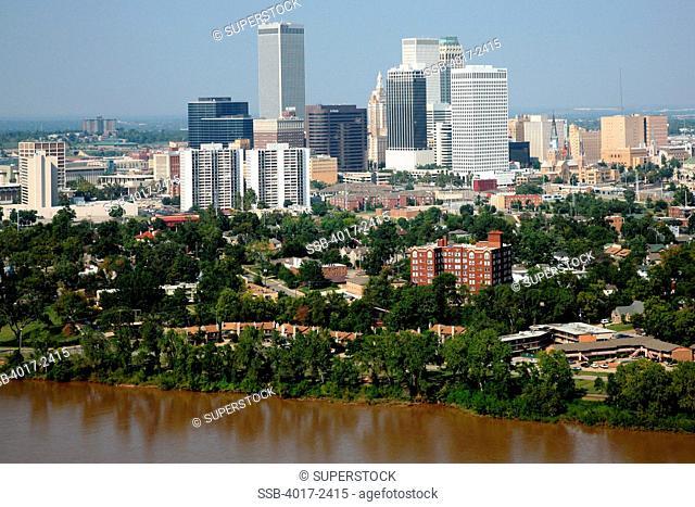 Aerial of Tulsa Oklahoma Downtown Skyline from the Arkansas River