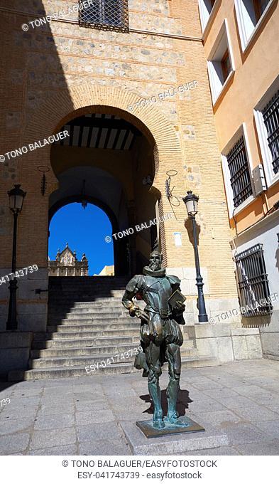 Toledo Memorial to Cervantes near Zocodover in Spain