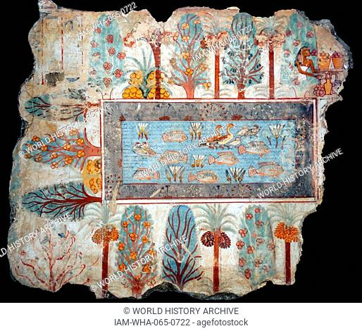 Fresco from the tomb of Nebamun, shows a pool in a garden that might have belonged to Nebamun. The pool is full of birds, lotus flowers and tilapia fish